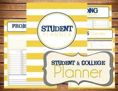 Instant Download - Student - College Planner Stripe Printable Planner Organizer…