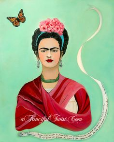 I love Frida Kahlo and the Butterfly 5 Postcard Set by AFancifulTwist, Diego Rivera, Frida And Diego, Open My Eyes, Mo S, Art Pieces, Fancy, Illustrations, People, Image