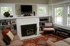 Original craftsman windows and cozy fireplace make this living room a favorite . TV above fireplace? Fireplace Bookcase, Fireplace Beam, Tv Over Fireplace, Craftsman Fireplace, Cottage Fireplace, Fireplace Built Ins, Cozy Fireplace, Fireplace Surrounds, Fireplace Design
