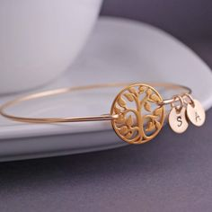 Gold Tree of Life Bracelet Personalized Family Tree Jewelry by georgiedesigns