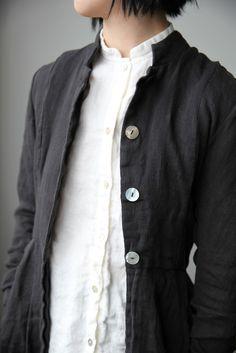 Róisín Washed Linen Long Jacket - Black