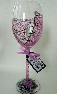 Personalized Hand Painted Wine Glass goblet Flute by AlenaShop, $20.99