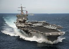 The aircraft carrier USS Enterprise (CVN 65) is underway with the Enterprise Carrier Strike Group in the Atlantic Ocean.