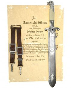 RAD Leader Dagger with hanger and Konstantin Hierl certificate - Alcoso Solingen