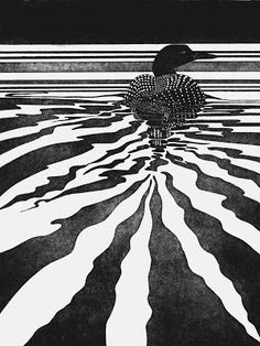 Still Waters (Common Loon) Etching - Ernest Andrew Somers Water Printing, Chalk Pastels, Wood Engraving, Linocut Prints, Woodblock Print, Bird Art, Belle Photo, Oeuvre D'art, Les Oeuvres