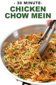Authentic stir fried noodles, vegetables and chicken cooked in a rich savory sauce. Everything is cooked in one skillet and it is ready in under 30 minutes! This quick and easy recipe is perfect for a healthy midweek dinner! Chicken Chow Mein Recipe Easy, Easy Chicken Recipes, Healthy Dinner Recipes, Asian Recipes, Cooking Recipes, Low Mein Recipe, Cooking Okra, Healthy Weeknight Dinners, Stir Fry Recipes
