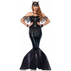 Dark Water Siren Womens Mermaid Costume Price: $62.00  Dark Water Siren Mermaid costume is figure hugging and figure flattering. The 2 piece costume set includes the sequin bustier dress with light boning and shimmer foam fin with net overlay and organza ruffled trim. It comes with the jeweled crown.  Other items shown sold separately.  #cosplay #costumes #halloween