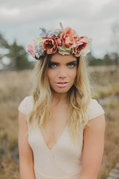 Floral Headpiece // Bohemian Luxe - Boho Bride - Gibson Bespoke // Kirsty-Lyn Jameson Photography