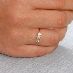 Gold ring for women with white diamonds 14K by KyklosJewelryLab
