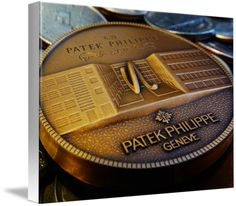 "Patek Philippe Geneve Commemorative Medal Coin $93 // Style: White Edge Canvas Print; Size: Medium 16"" x 21"" // Visit http://www.imagekind.com/Patek-Philippe-Geneve-PPG_art?IMID=f3908c20-ea81-4cad-96a2-bcfab5a6a254 for product details."