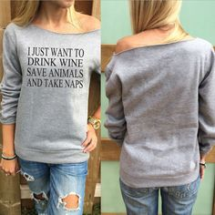 P.S. I Love You More Boutique   Drink Wine Save Animals Take Naps Top   -- Spring Summer Fall Winter Fashion. www.psiloveyoumoreboutique.com