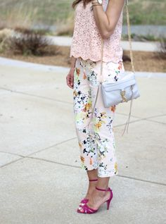 Floral Pants - Maybe I could do this with my floral skirt and lace top?