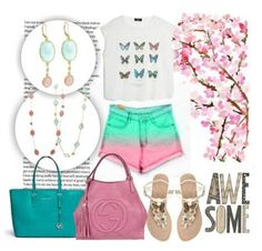 #Summer #spirit! Get the look with #pastels in #pink and #green and matching #LindseyMarie Adriana #earrings & Joy #necklace. www.lindseymarie.com #fashion #jewellery #style Get The Look, Butterfly, Fashion Jewellery, Pastels, Creative, Polyvore, Pink, Spirit, Joy