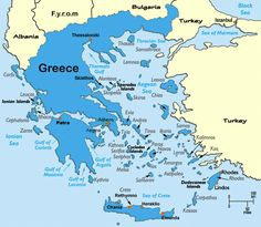 A detailed Map of Greece (Hellas), showing main cities, regions, roads, towns and Greek Islands. Find out where is Greece and get great travel ideas! Greek Islands Map, Island Map, Greece Islands, Greece Tourism, Greece Map, Greece Travel, Corfu Greece, Athens Greece, Samos