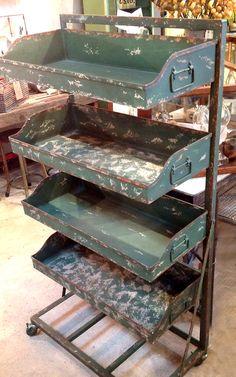green metal industrial bins rack storage display jennifer price studio solo cedros