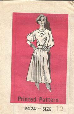 Vintage Mail Order Tissue Dress Pattern 9424 Size 12 Bust 34 circa 1970's by EvaStAlbans on Etsy