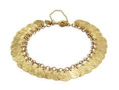 18K Gold Full Hammered Disc Bracelet
