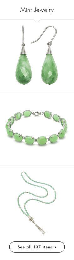 """""""Mint Jewelry"""" by kikikoji ❤ liked on Polyvore featuring jewelry, earrings, green, earrings jewellery, jade jewellery, jade teardrop earrings, green jewelry, teardrop earrings, bracelets and sterling silver bangles"""
