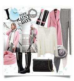"""""""I Enjoy Rainy Days"""" by shaheenk ❤ liked on Polyvore featuring Rimmel, Boohoo, Topshop, BeckSöndergaard, Michael Kors, Hunter, Chanel, chic, Pink and rain"""