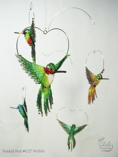 3D Beaded Bird Mobile : Hummingbird Mobile / Bird Room Decor / Five Hummingbirds Mobile / BB027