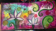 Página de mi artjournal. Lotos. Técnica mixta. Pedidos y más cuadros en mi Facebook Cuadritos de Colores y en mi blog www.miscuadritosdecolores.blogspot.com