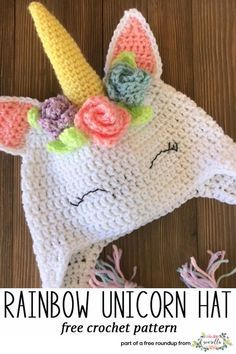 Get the free crochet pattern for this rainbow unicorn kids hat from 5 Little Monsters featured in my gender neutral rainbow baby FREE pattern roundup!