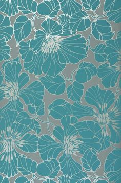 teal flowers on grey background Art Floral, Motif Floral, Floral Prints, Fabric Wallpaper, Pattern Wallpaper, Wallpaper Backgrounds, Wallpapers, Illustration Blume, Pattern Illustration