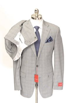 SAMUELSOHN Performance Gray Plaid Wool Mohair 2Btn Flat Front Suit  |  Have at it! http://www.frieschskys.com/suits  |  #frieschskys #mensfashion #fashion #mensstyle #style #moda #menswear #dapper #stylish #MadeInItaly #Italy #couture #highfashion #designer #shop