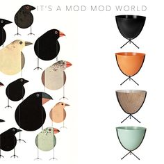 """Welcome to This Week! This week's motif is """"It's a Mod Mod World."""" We love Mid-Century Modern because it embodies a strong style that all outdoor products should have: geometric shapes, earthy colors and strong, resilient materials. An item that truly embraces the Mod Mod World theme is the Retro Bullet Planter.  To see more of the bullet planter please visit www.shopboxhill.com!  Artwork by Charley Harper"""