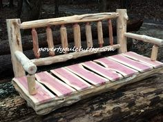 4' Rustic Cedar Log Spindle Back Porch Swing by PovertyGulch on Etsy