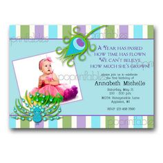 Peacock Birthday Invitation Stripes and Feathers Customized with your Photographs - Printable. $12.00, via Etsy.