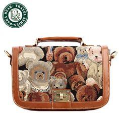 DAKA BEAR Girls' Cute Vintage Backpack Satchel Shoulder Handbag Tote Message Bag