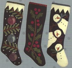 Primitive Folk Art Wool Applique Pattern: 3 CHRISTMAS STOCKING