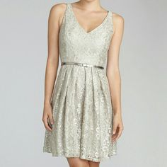 """Donna Morgan Coco Metallic Lace Dress Size 10 This gorgeous dress comes in the """"sandstone"""" color and features metallic lace and a silver belt. Only worn once,  so it is in excellent condition. Size 10. Donna Morgan Dresses Mini"""