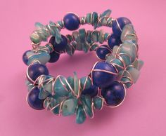 Blue Magnesite and Shell Wire Wrapped Memory Wire Bracelet - Crafty Magpie