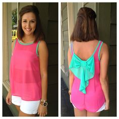 Hot pink top with turquoise outline and bow detail! Perfect summer shirt!