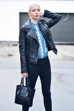 Turn it inside out, zara, leather jacket, paisley, blue, blouse, asos, ridley, skinny jeans, cheap monday, monolit, pony hair, wedges, white hair, grey hair