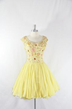 1950s Vintage Dress - Yellow Silk Chiffon and Heavily Sequined Bodice Cocktail Party Dress. $190.00, via Etsy.