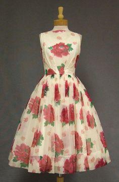 Floral Chiffon 1950's Cocktail Dress