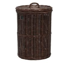 Round Willow Clothes Hamper Gingham Liner Laundry Hamper