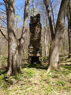 Stone fireplace, Appalachian Trail, NC.