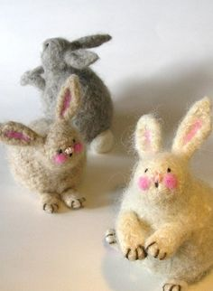 knit and felted bunnies  @Rebbie Garza GASP
