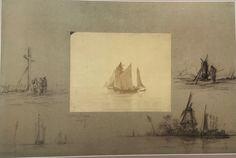 Scène maritime autour d'une photographie d'un tableau de Lepic, après 1879, coll. part. Art, Painting, Mixed Media