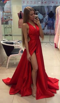 Real Sexy Cheap Front Split Prom Dresses,Simple Long Party Dresses,Deep V-neck Evening Dresses,Custom Made Prom Dress On Sale - Thumbnail 1