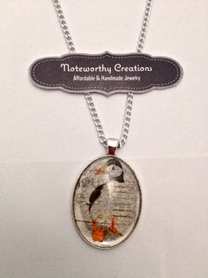 Puffin Postage Stamp Glass Cabochon Pendant Necklace