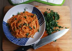 Spaghetti with Roasted Red Pepper and Sweet Potato Cream Sauce