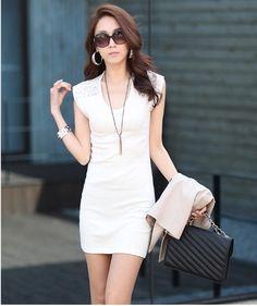 (7.4$)  Buy here - http://aisty.worlditems.win/all/product.php?id=G0936W-XXL - Korean Fashion Women Mini Dress Sleeveless Lace Splicing Clubwear Bodycon Vest Dress Black/White