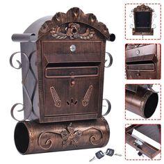 Wall Mounted Mailbox Vintage Bronze Lockable Letterbox Post Newspaper  Hanging In Home, Furniture U0026 DIY