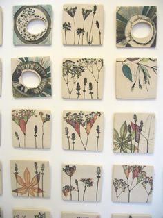 Wall Ceramics underglaze slip color tile flowers nature