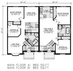 First Floor Plan of European   Multi-Family Plan 48250